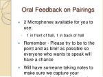 oral feedback on pairings