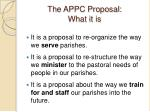 the appc proposal what it is