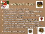 ingredients in spain