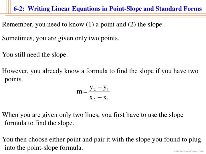 Ppt 6 2 Writing Linear Equations In Point Slope And Standard
