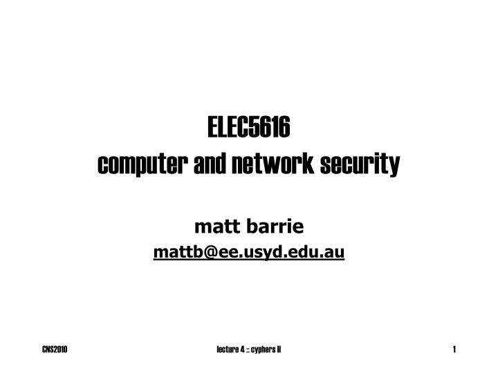 elec5616 computer and network security n.
