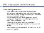 dtc instructions and information