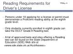 reading requirements for driver s license