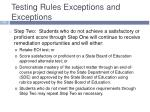 testing rules exceptions and exceptions1
