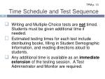 time schedule and test sequence