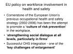 eu policy on workforce involvement in health and safety