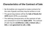 characteristics of the contract of sale