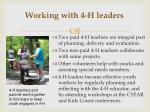 working with 4 h leaders