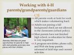 working with 4 h parents grandparents guardians