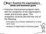 step1 examine the organization s needs and business goals