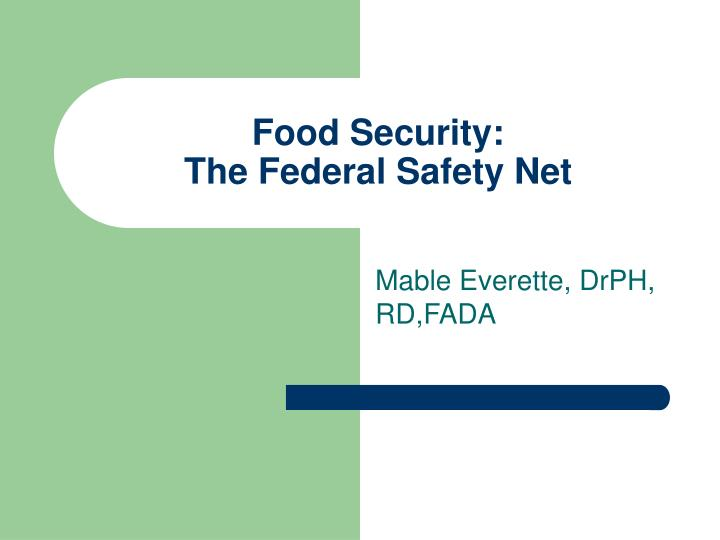 food security the federal safety net n.