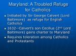 maryland a troubled refuge for catholics