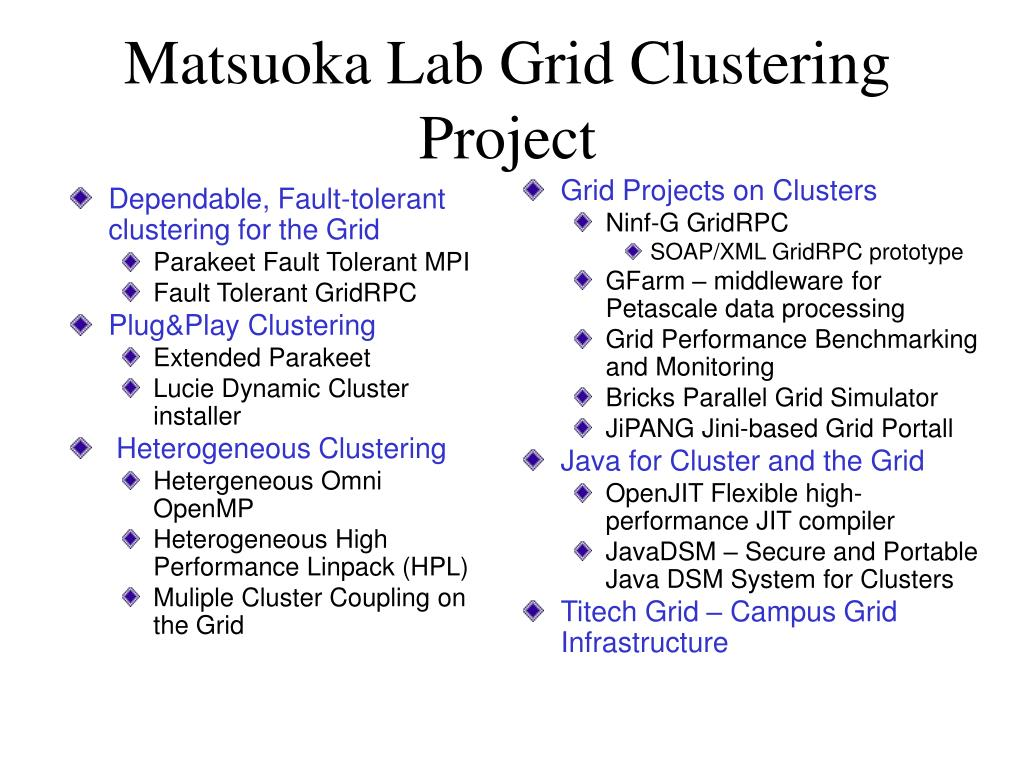 Dependable, Fault-tolerant clustering for the Grid