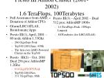 presto iii athlon cluster 2001 2002 1 6 teraflops 100terabytes