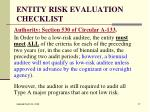 entity risk evaluation checklist