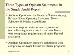 three types of opinion statements in the single audit report