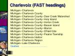 charlevoix fast headings