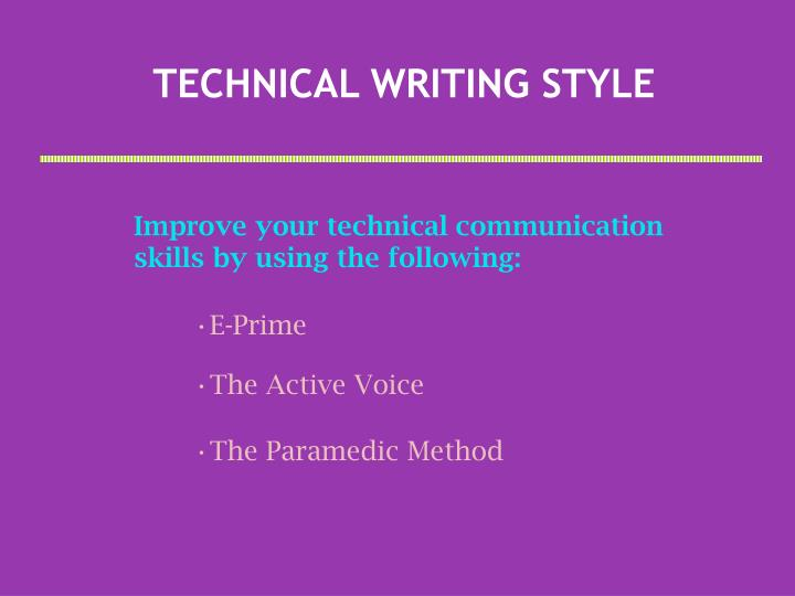 technical writing style n.