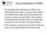 documentation in msis1