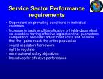 service sector performance requirements