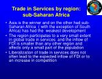 trade in services by region sub saharan africa