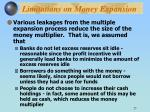 limitations on money expansion