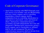 code of corporate governance