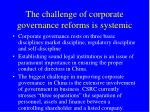 the challenge of corporate governance reforms is systemic