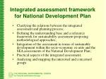 i ntegrated assessment framework for national development plan