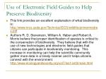use of electronic field guides to help preserve biodiversity