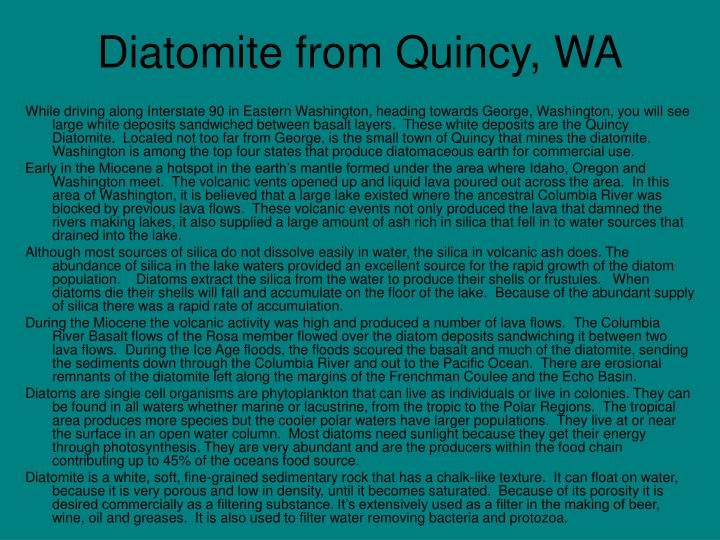 diatomite from quincy wa n.