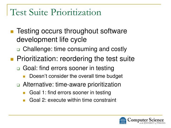 Test suite prioritization