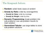 the knapsack solvers