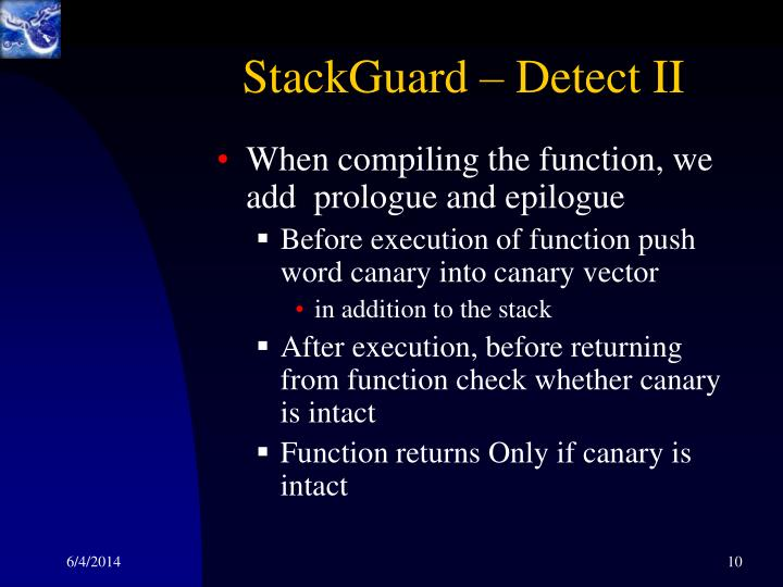 StackGuard – Detect II