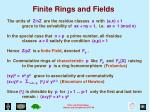 finite rings and fields