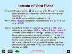 lemma of vera pless