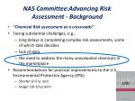 nas committee advancing risk assessment background