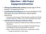 objectives ara project engagement evolution
