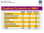 disabled students at mmu
