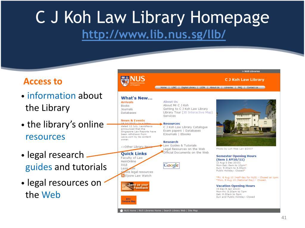 C J Koh Law Library Homepage