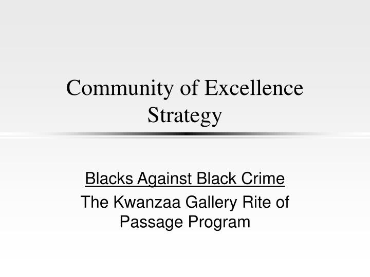 community of excellence strategy n.