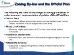 zoning by law and the official plan