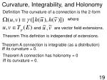 curvature integrability and holonomy