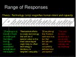 range of responses