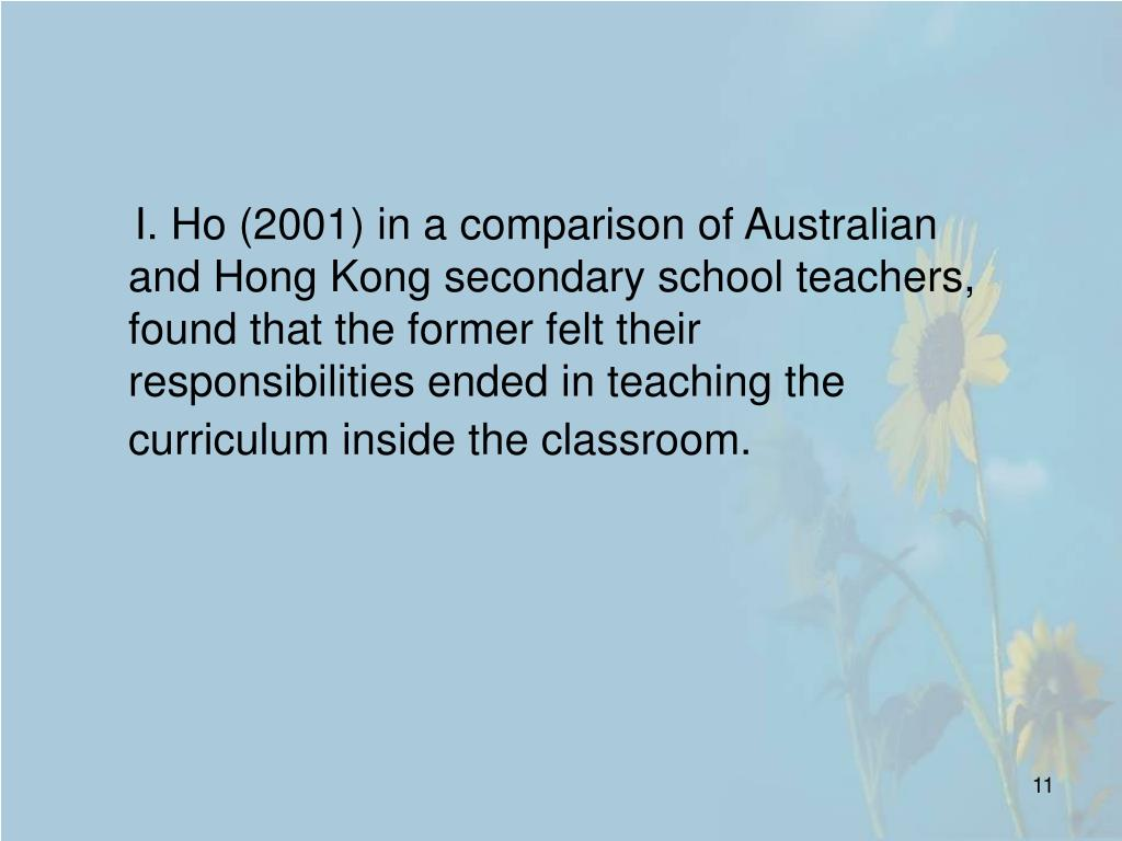 I. Ho (2001) in a comparison of Australian and Hong Kong secondary school teachers, found that the former felt their responsibilities ended in teaching the curriculum inside the classroom.