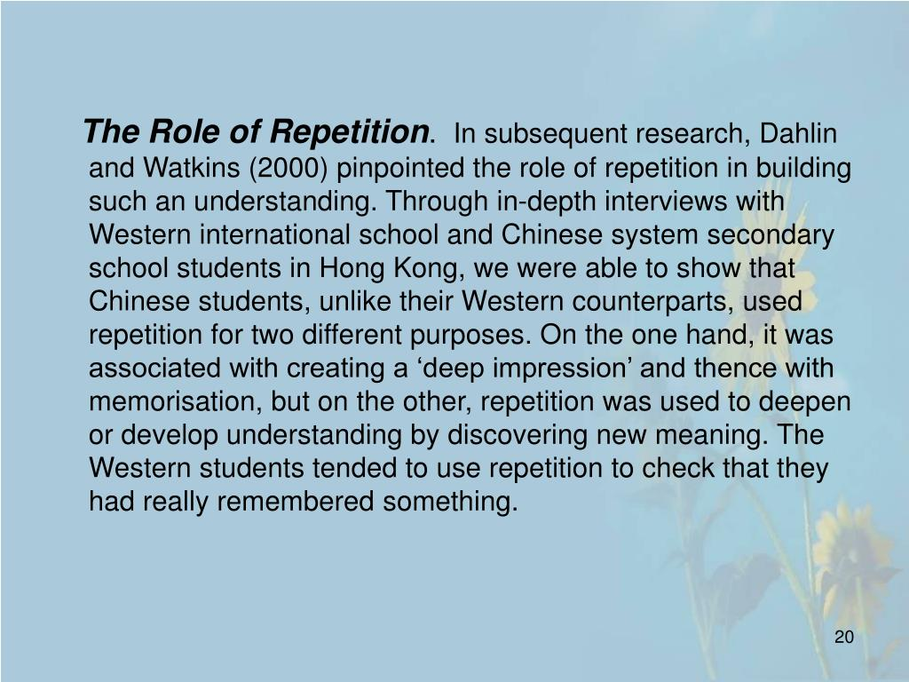 The Role of Repetition