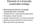 elements of a financially sustainable strategy