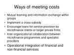 ways of meeting costs