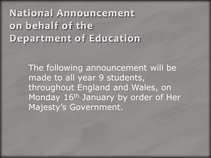 national announcement on behalf of the department of education n.