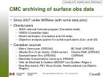 cmc archiving of surface obs data